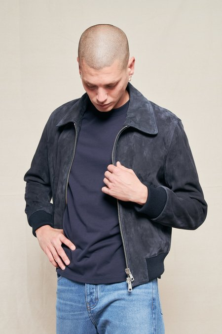 AMI Zipped Suede Jacket - NAVY 410
