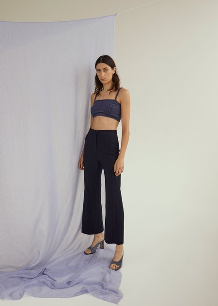 permanent vacation Everyday Flares - Navy Pinstripe