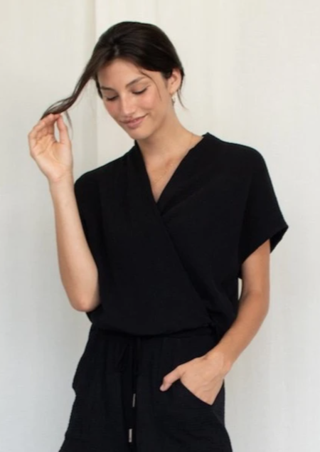 Natalie Busby Sleeveless Twist Blouse - Black