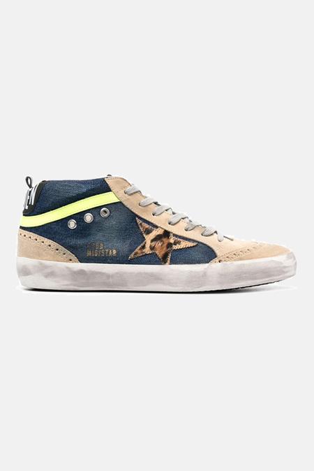 Golden Goose Mid Star Sneaker Shoes - Blue Denim/Leopard Star