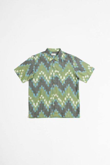 Universal Works Road shirt - zigzag ikat green