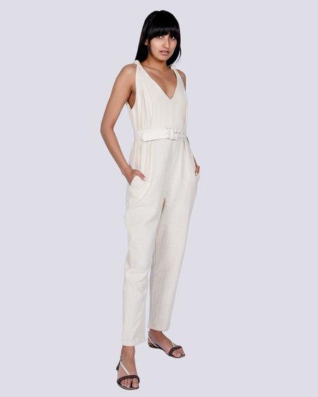 Rita Row Alanna belted cotton jumpsuit - white
