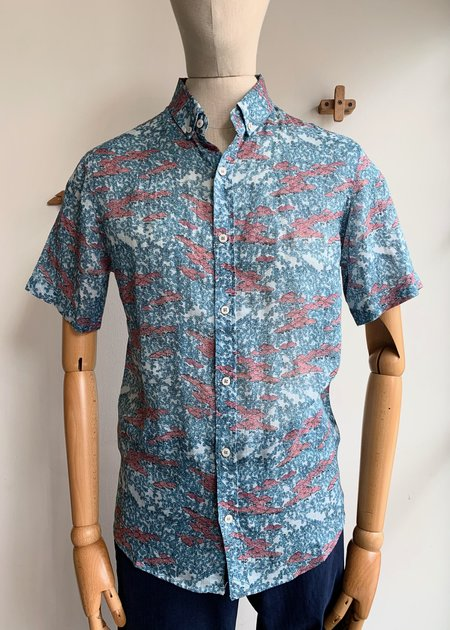 Oxford Lads Linen Patterned S/S Button Down - multi