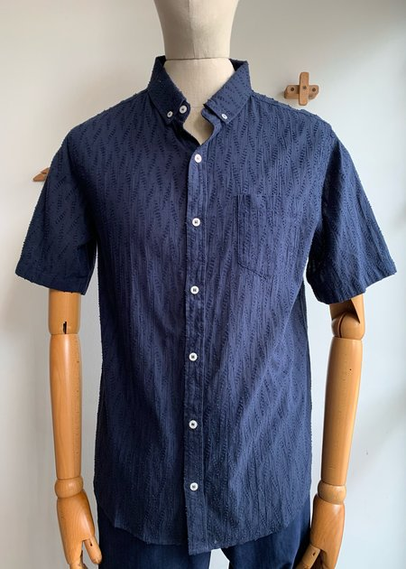 Oxford Lads Textured S/S Button Down - blue