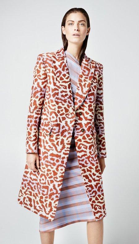 Smythe Peaked Lapel Overcoat - Lavender/Rust Leopard