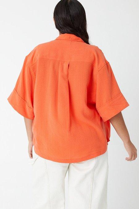 back beat rags Seersucker Pajama Top - Tangerine