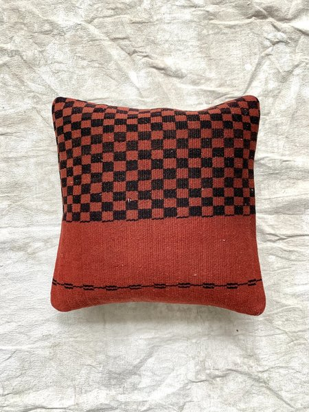 Cuttalossa & Co. Half Checkered Throw Pillow - Brick