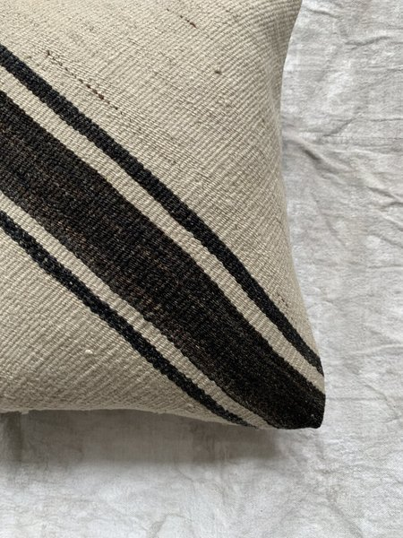 Cuttalossa & Co. Diagonal Stripe Kilim Pillow - Black/White