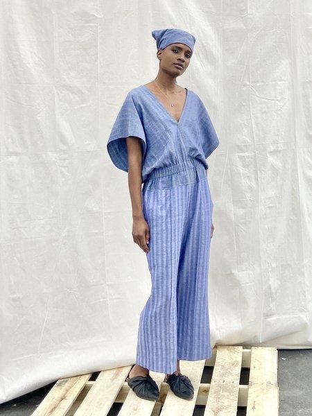 Yesaet Solana Jumpsuit - Chambray Blues Combo Stripe