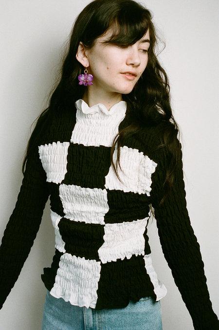New UANTS Ruffle Long Sleeve Top - Black/White