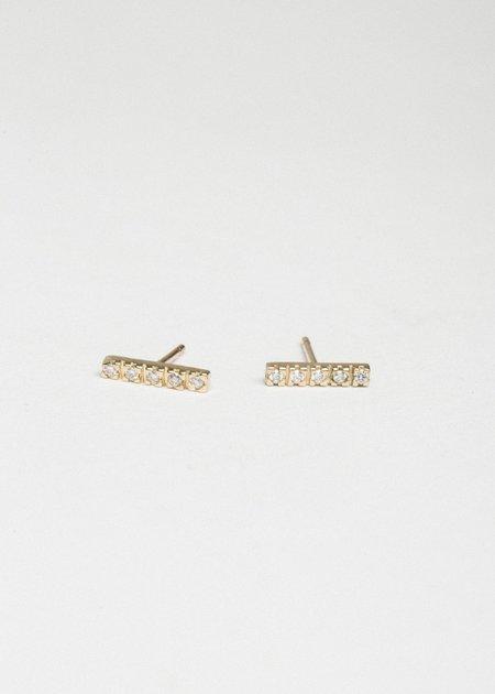 Jerry Grant 5 Diamond Stick Studs - 14k Gold