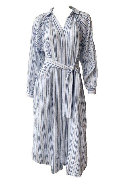 Apiece Apart Aberna Shirt Dress - Blue Striped