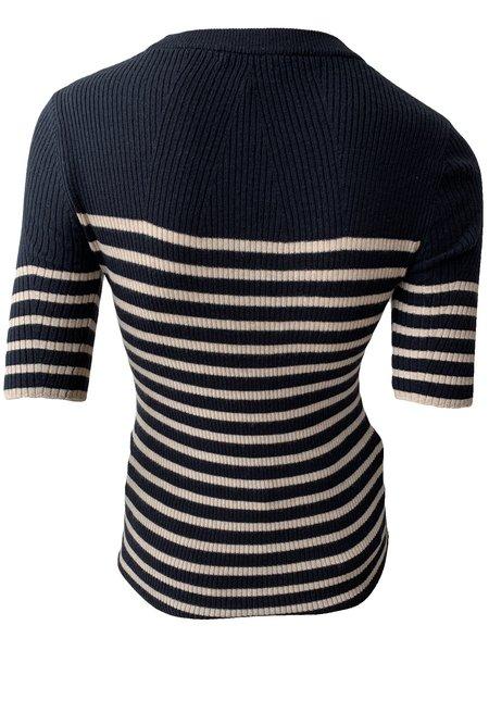 Rag & Bone Kate Striped Short Sleeve Knit Top - Navy Stripe