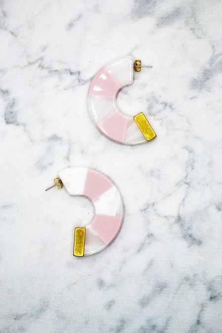 Rachel Comey Tabby Hoop Earrings - Pink/White