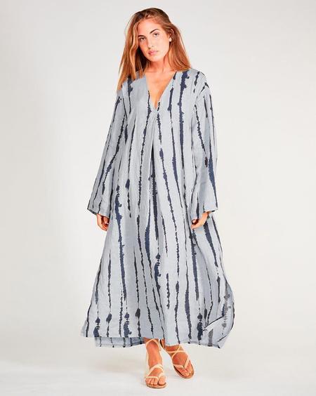 Baci Linen Drip Stripe Maxi Dress - Grey/Navy