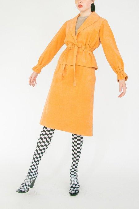Vintage Terra Cotta Faux Microsuede Suit Skirt - Yellow