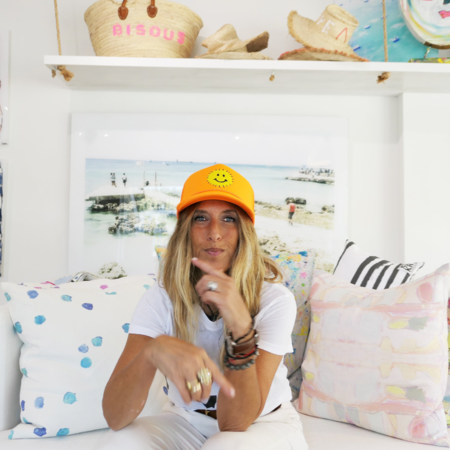 Kerri Rosenthal Smiley Trucker Hat - Orange