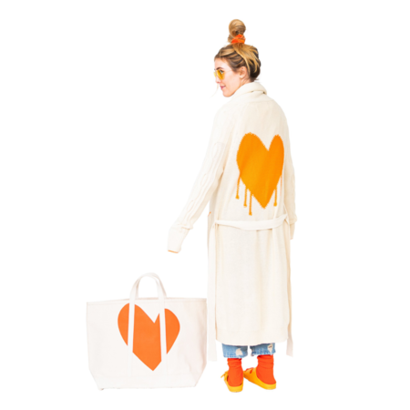Kerri Rosenthal Vitamin L Heart Tote - White/Orange