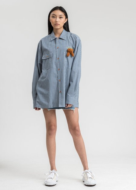 Doublet Check Shirt With My Friend - Blue