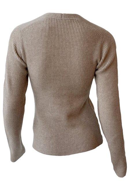 VINCE Ribbed Square Neck Long Sleeve Sweater - Heather Smokey Quartz