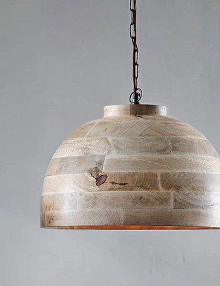 Nkuku Nika Large Wood Pendant - Mango Wood