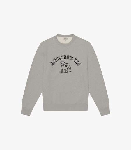 Knickerbocker Bulldog Cotton Sweater - Heather Grey