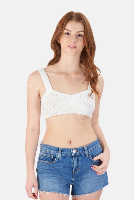 For Love & Lemons Bianca Crochet Bra Top Sweater - Ivory