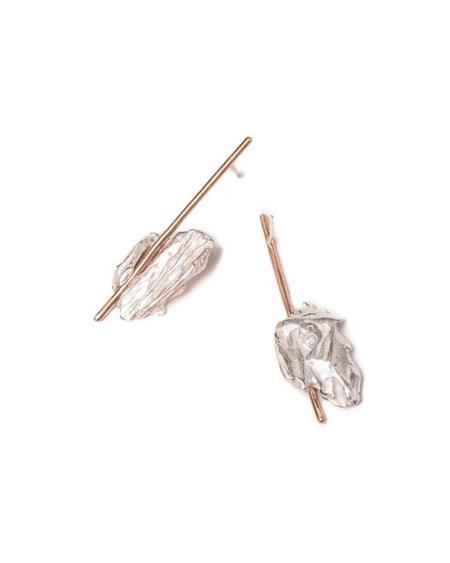 salt grass Stone & stick earrings - 14k gold/silver