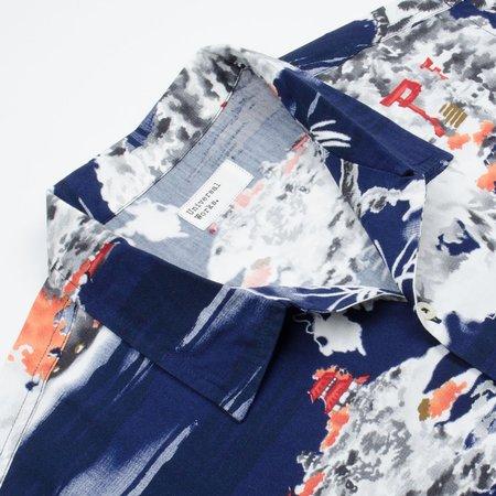 Universal Works Road Shirt - Fuji Summer Print/Navy
