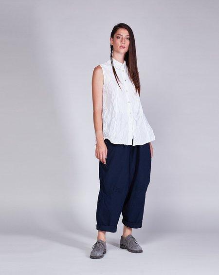 Baci Crinkle Cotton Sleeveless Button up - White