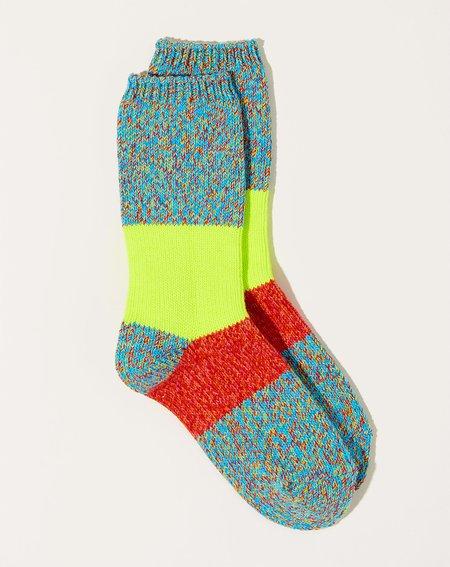 Kapital 56 Yarns Neon Line Gogh Socks - Turquoise/Red