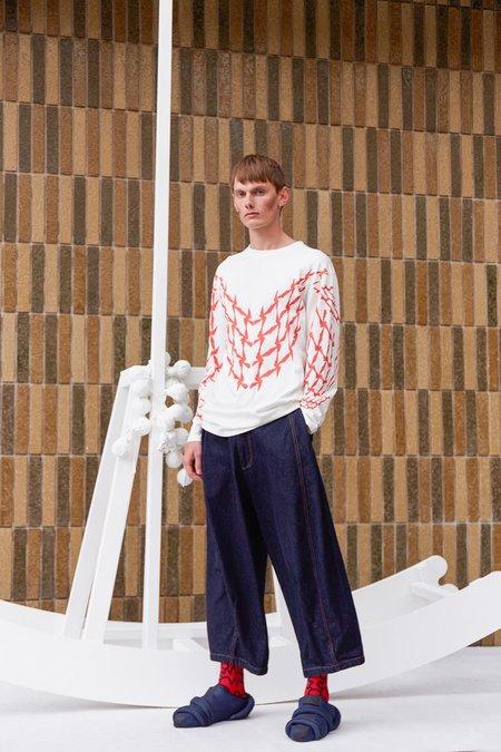 Henrik Vibskov Scooter Long Tee - Off White/Red