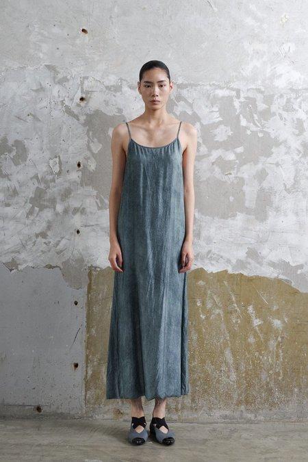 Uma Wang Anaya Distressed Slip Dress - Steel Blue