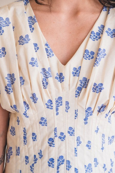 Caron Callahan Naomi Shibori Cotton Silk Dress