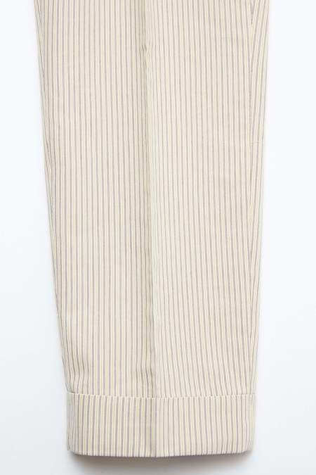 Beams Plus Ankle-Cut Hard Twisted Cordlane IVY Trousers - BEIGE