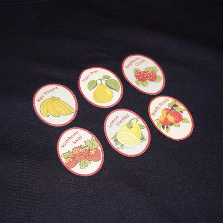 Pair of Peaches Fruit Sticker T-Shirt - Navy