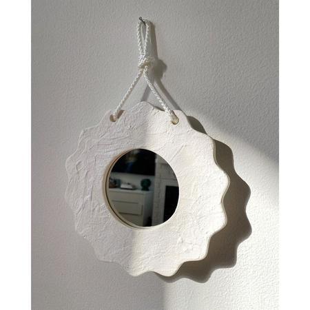 mansi shah Textured White Wall Mirror