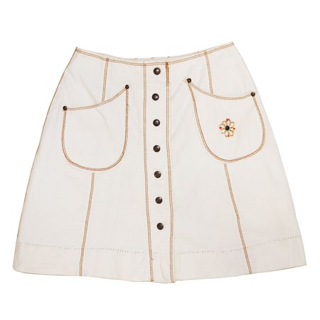 Vintage Canvas Topstitch Skirt - white