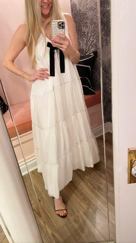 Lug Von Siga Lorena Tiered with Bow Maxi Dress  - White