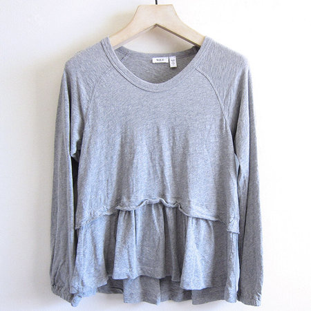 Wilt Femme Mock Layer Raglan Soft Sleeve - Grey Heather