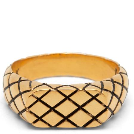 MAPLE Quilted Signet Slim Ring - 14K Gold Plated