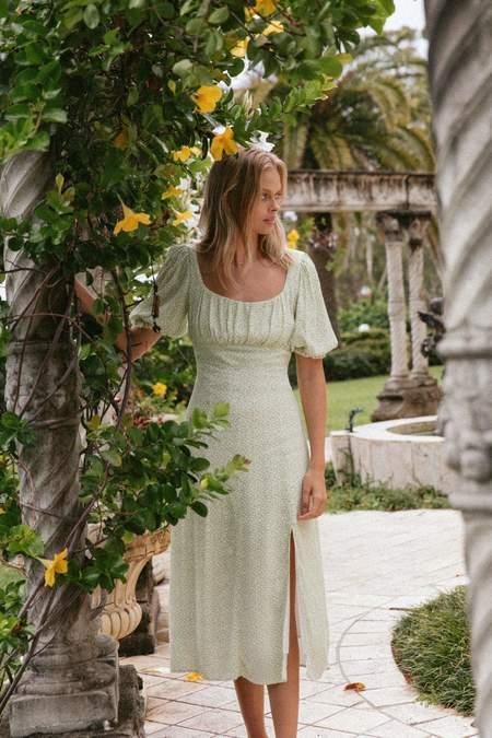 Charlie Holiday Mia Midi Dress - Green Floral