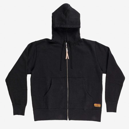 Iron Heart 14oz Ultra Heavy Loopwheel Zip Up Hoodie - Black