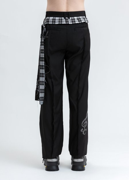 C2H4 Raw Edge Tailored Trouser - Black