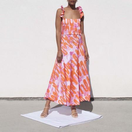 Collina Strada Ruffle Market Dress - squiggle print