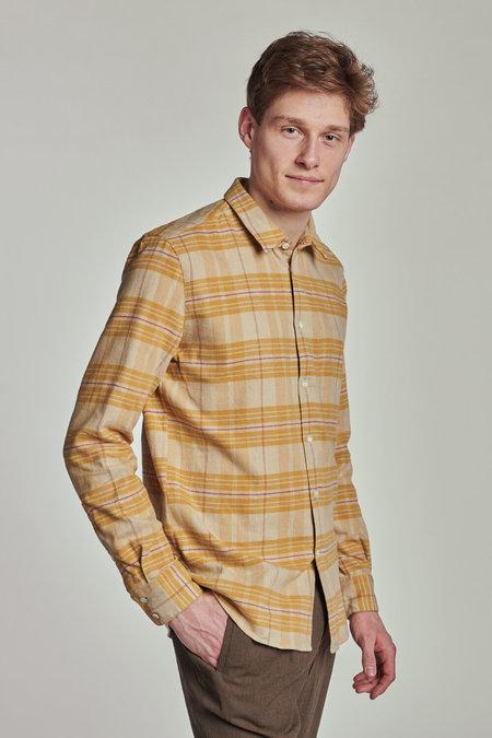 Delikatessen AW 20/21 Feel Good Japanese Corduroy Cotton Shirt - Yellow Checkered