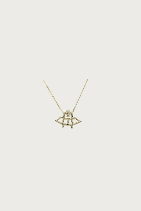 Xiao Wang Dot Dot Space Ship Necklace - Gray Diamond/Gold