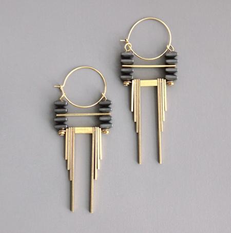 David Aubrey Dangle Earrings - Hematite/Brass
