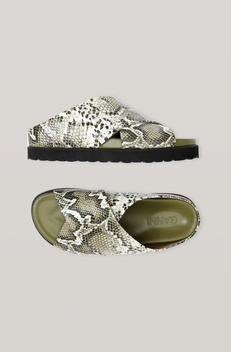 Ganni Snake Embossed Leather Crossover Sandal - Green