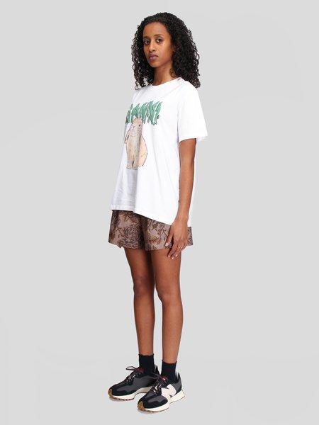 Ganni Printed Cotton Poplin Shorts - Fossil